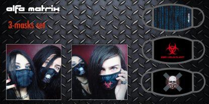 Set of 3 Face Masks (Blue Matrix + Endzeit + Red EBM Alert)